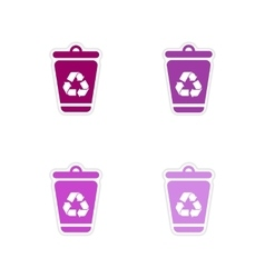 Set of paper stickers on white background dumpster vector
