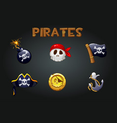 set pirate icons and symbols vector image