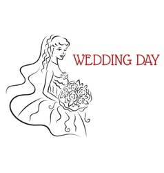 Silhouette of pretty bride with flowers vector