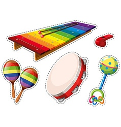 Sticker set of musical instrument vector image vector image
