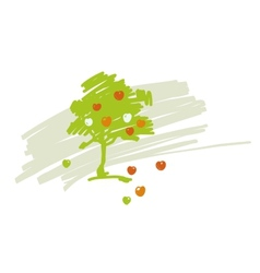 stylized drawing of apple tree with ripe vector image