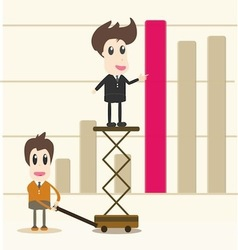 Successful business team in front graph vector
