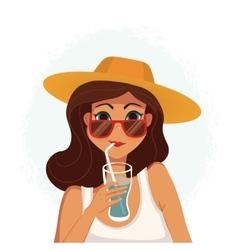 Summer girl drinking a cocktail Cartoon vector