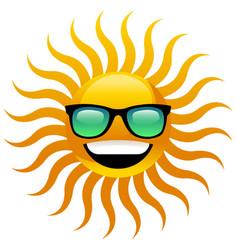 Sun with sunglasses vector