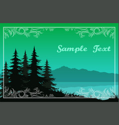 Trees lake and mountains vector
