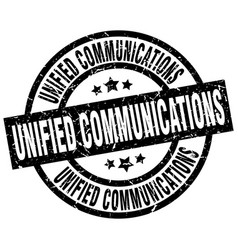 unified communications round grunge black stamp vector image