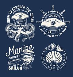 vintage marine emblems vector image