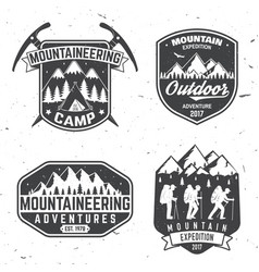 Vintage typography design with mountaineers vector