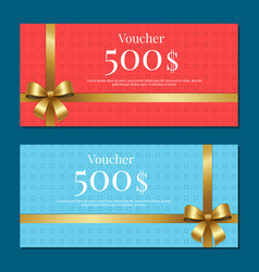 voucher on 500 set of posters gold bow ribbons vector image