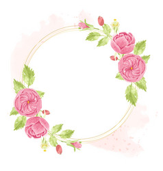 watercolor pink english rose wreath with round vector image