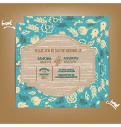 Wedding invitation wooden blue vector