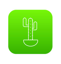 wilderness cactus icon green vector image