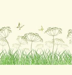 Wildflowers in grass vector