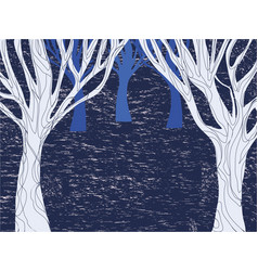 winter dark forest pattern with trees vector image