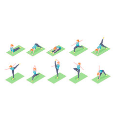woman yoga poses girl fitness exercise isometric vector image