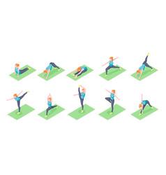 woman yoga poses girl fitness exercise isometric vector image