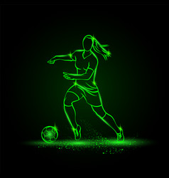 Women soccer player dribbling with ball vector