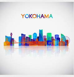 yokohama skyline silhouette in colorful geometric vector image