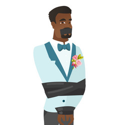 young african-american groom tied up with rope vector image