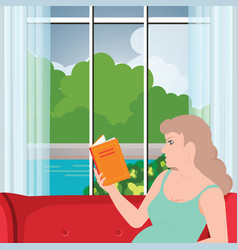 young pregnant woman sitting on sofa and reading vector image