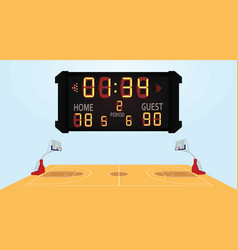 basketball field with scoreboard vector image vector image