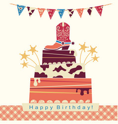 cowboy party card with big cake and cowboy shoe vector image vector image