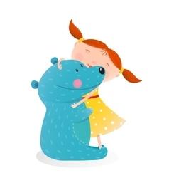 Girl hugging toy cute bear vector image vector image