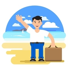 Man with a suitcase on a tourist vector image