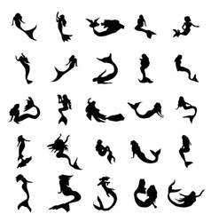 Mermaid silhouettes set vector image