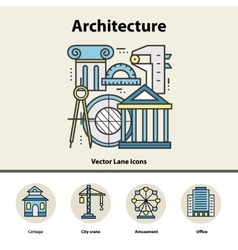 Modern color thin line concept of architecture and vector image vector image