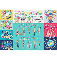 Social Media Infographic set with charts and other vector image vector image