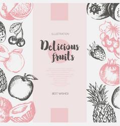two side fruit frame - hand drawn design vector image