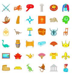 ancient world icons set cartoon style vector image