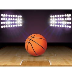 Basketball on Court with Lights vector image vector image