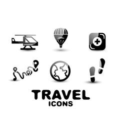 Black glossy travel icon set vector image vector image