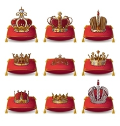 Crowns of kings and queen collection vector