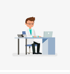 doctor cartoon character sitting on desk with vector image vector image