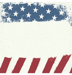 Empty white grunge canvas on american flag vector image vector image