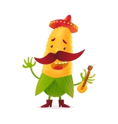 Happy corn character in boots and Mexican holding vector image vector image