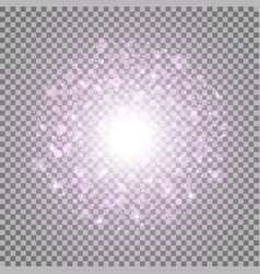 light circle with dots and sparks purple color vector image