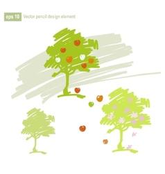 Set of stylized apple tree vector image