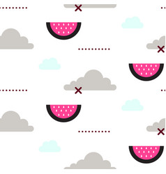 watermelon in the sky fun seamless pattern vector image vector image