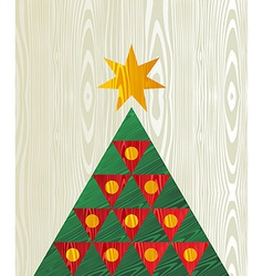 Christmas tree wooden textured shape greeting card vector image vector image