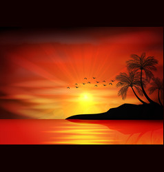 Sunset background with bird and palm tree vector image