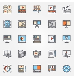 Video production icons set vector image vector image