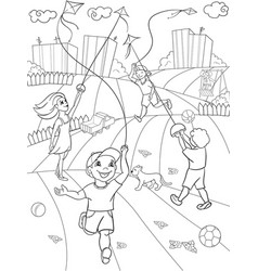 children coloring game kite flying vector image vector image