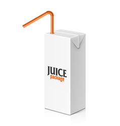 Juice box with drinking straw vector image vector image