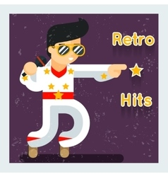 Retro hits singer like Elvis Presley vector image vector image