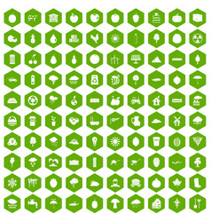 100 fruit icons hexagon green vector