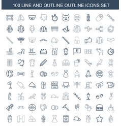 100 outline icons vector